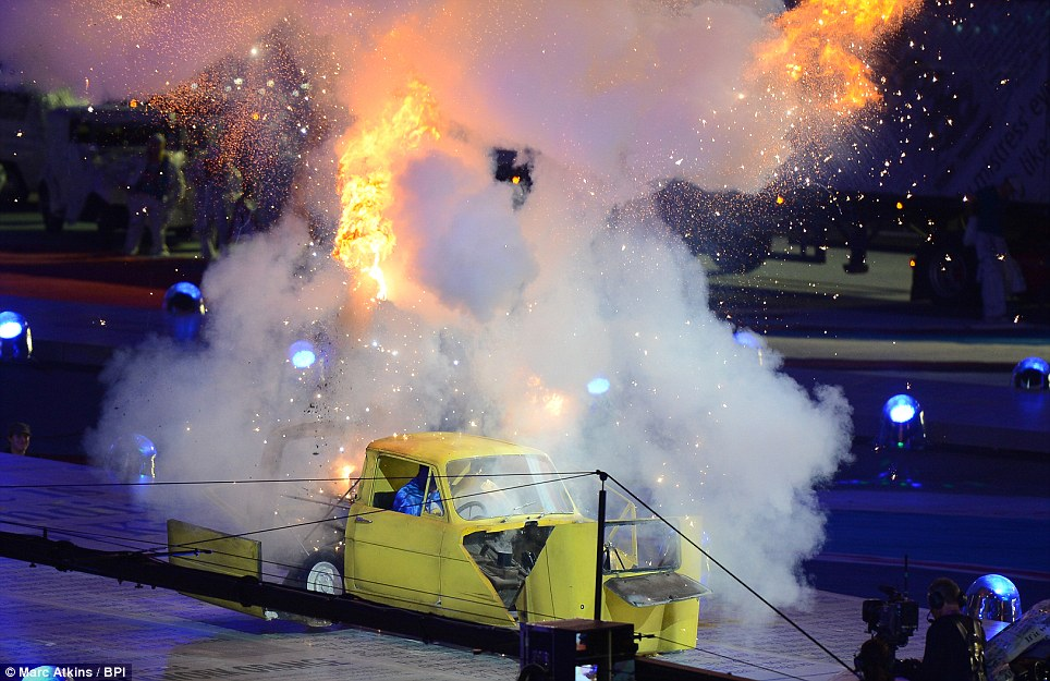 Classic comedy: Del Boy and Rodney's Reliant Robin explodes during the closing ceremony