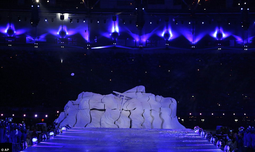 Imagine: A sculpture in the shape of late Beatles band member John Lennon is formed onstage during the Closing Ceremony