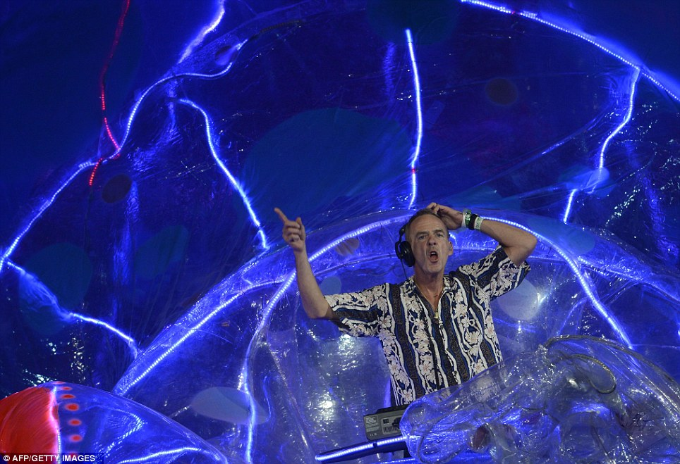 Right here, right now: British DJ and musician Fatboy Slim performed his most famous hits in a giant translucent octopus