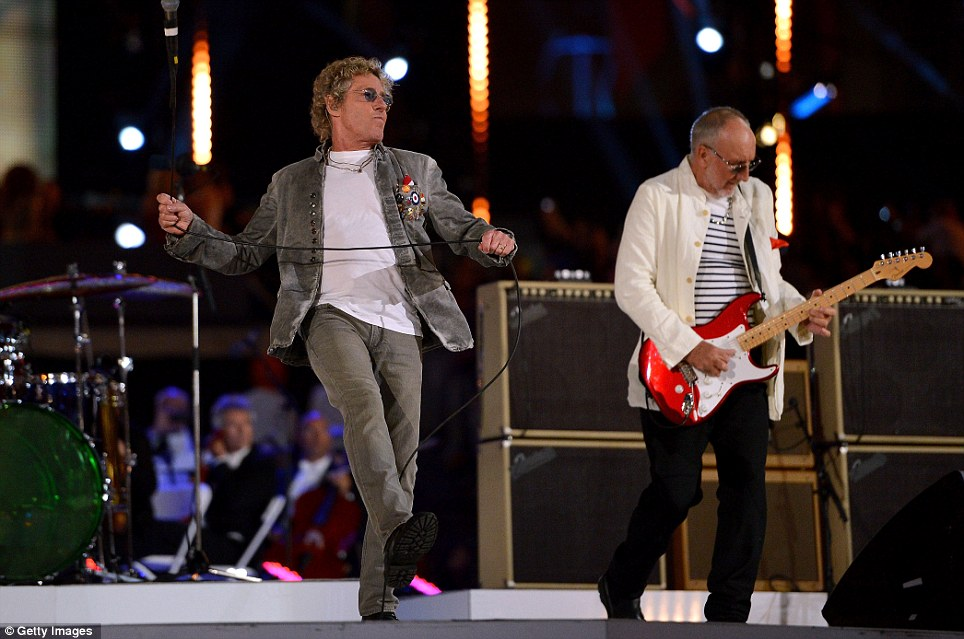 Rock behemoths: Roger Daltrey and Pete Townshend of The Who headline the Olympic Closing ceremony with a medley of their biggest hits, including Baba O'Reilly