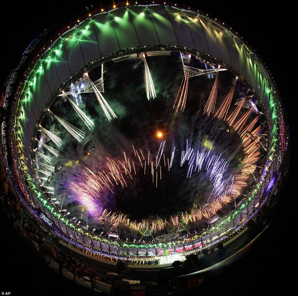 Something different: A photograph taken with a fisheye lens provides an unusual view of the firework display
