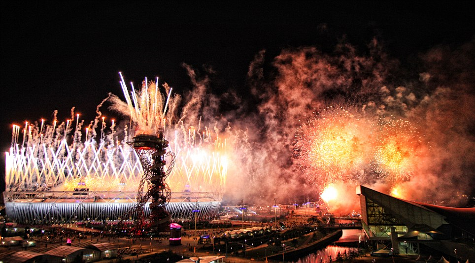 Glorious send-off: Fireworks lit up the Olympic Park in Stratford, east London, as London 2012 drew to a close