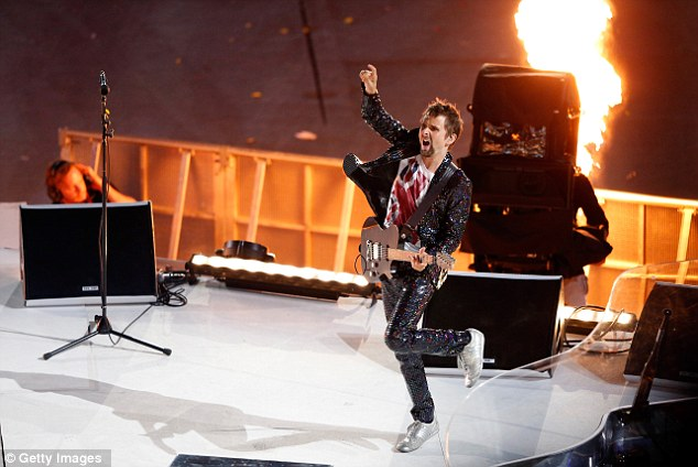 Cut: Matt Bellamy of Muse plays at the ceremony on Sunday. The band's performance was cut for U.S. viewers even though it made the official song for the Olympics