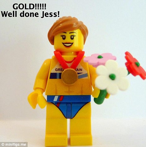 Lego heptathlete Jessica Ennis accepts her gold medal and bouquet