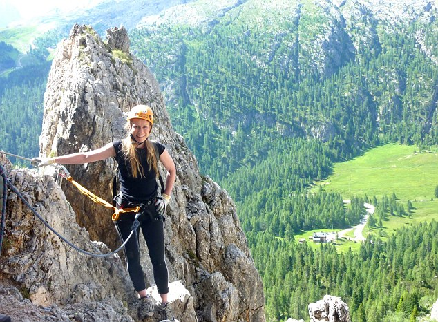 Laura gets ready to tackle the two-hour via ferrata climb up Col dei Bos