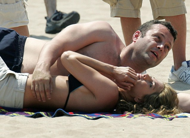 Jennifer Aniston and her co-star Vince Vaughn pictured on the set of The Break Up. The cou