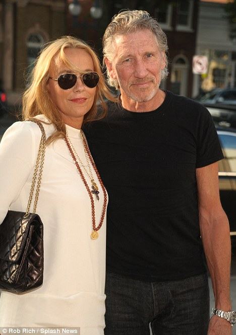 Sunset trip: Roger Waters looked excited to see the film with wife Laurie Durning