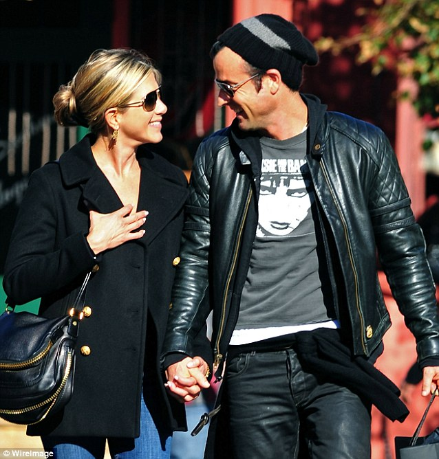 Actors Jennifer Aniston and Justin Theroux are engaged. Jennifer Aniston and Justin Theroux walk in the West Village on September 18, 2011 in New York City.