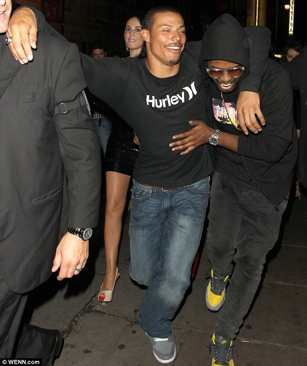 Helping hand: Ryan looked like he needed help getting to his car as he left the club at 4am