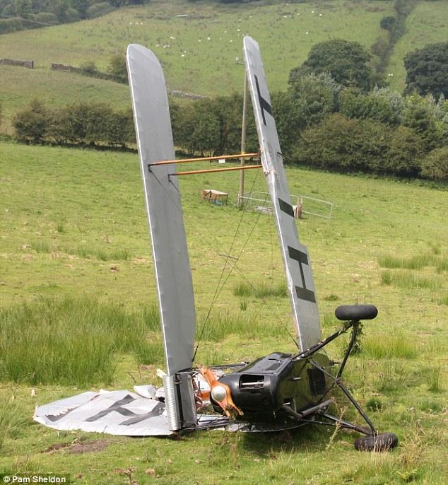 Damaged: The plane ended up on its side after the crash near Eryrys, Denbighshire