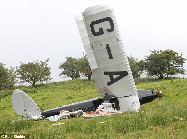 Wrecked: This 1930s design Tiger Moth bi-plane smashed into pieces when it crash-landed in a field in Wales