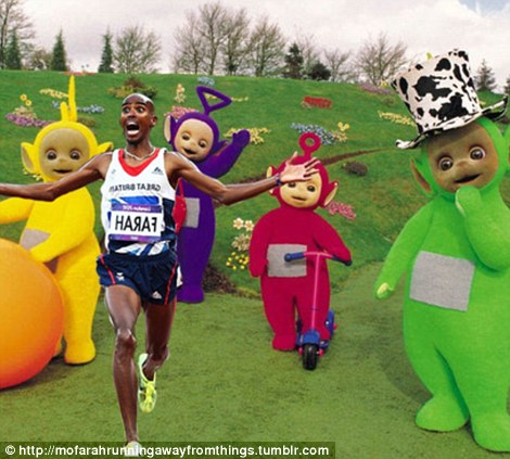 Teletubby bye bye! Mo runs from Tinky Winky, Dipstick, Lala and Po