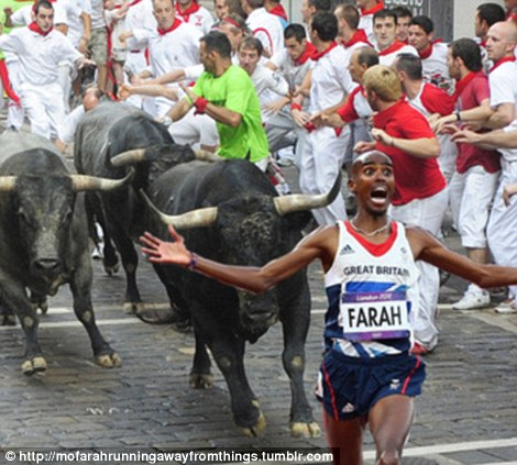 Being bullied: Mo sprints away from the Pamplona bulls