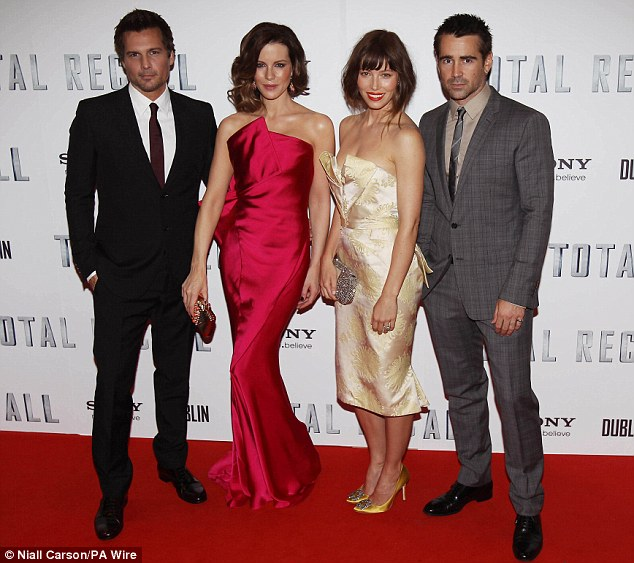 Stars of the movie: Director Len Wiseman stands next to wife and leading lady Kate Beckinsale, as they're joined by Jessica Biel and Colin Farrell