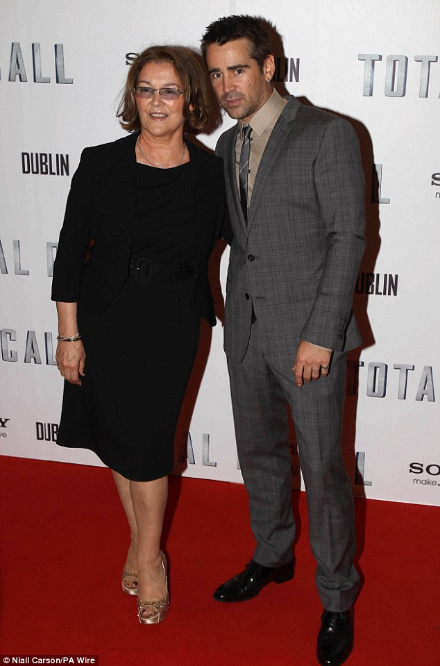 Special date: Colin decided to bring his mother Rita along for the Irish premiere as he posed for pictures with her