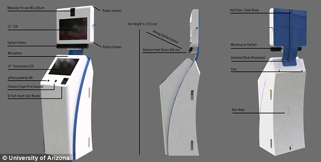 The kiosk, which contains of of the Avatar's electronics, is designed to be at the same height as visitors, allowing them to interact comfortably.