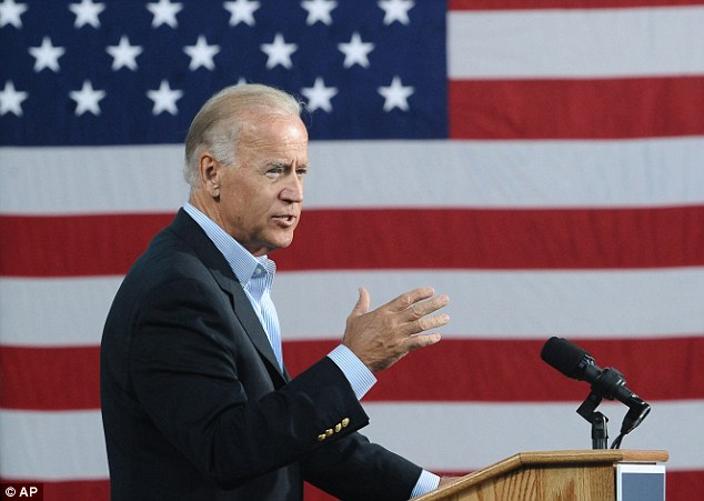 Gaffe: Biden, pictured on August 14, sparked outrage with his 'put y'all back in chains' speech