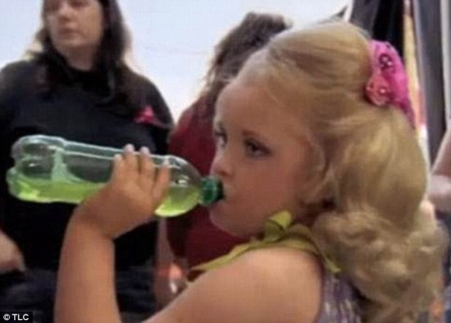 Secret weapon: The youngster, who was first seen on Toddlers & Tiaras, was fed 'Go Go Juice' by June. The mixture of Mountain Dew and Red Bull was offered to the little girl after she had consumed 15 packets of sugar