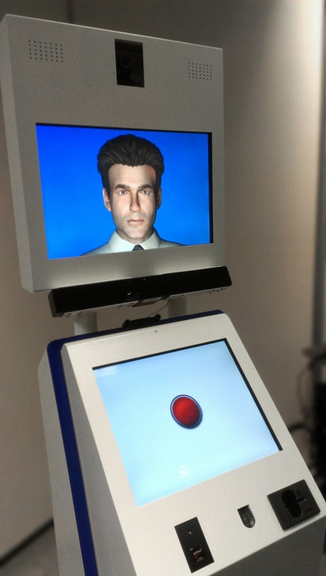 Elvis the border guard uses speech to communicate with visitors to the US, and can also read passports and check fingerprints, while cameras look at people's eyes to identify them and look for signs of lying.