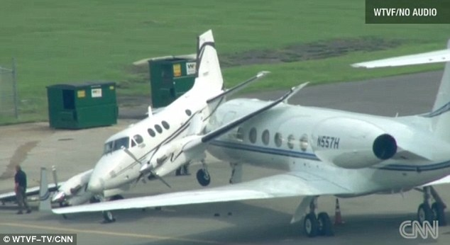 Lucky strike: There were no passengers on either plane at the time of the crash, and no injuries were reported