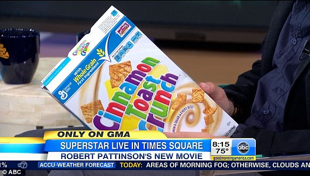 Prop: Pattinson talked about Cinnamon Toast Crunch when asked what he wanted to tell his fans about his personal life