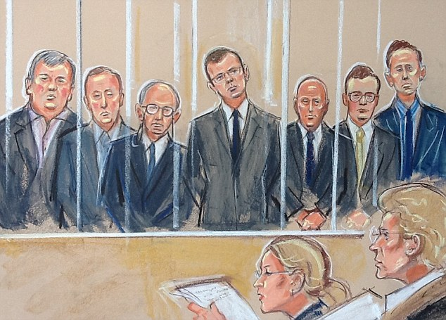 Court sketch: The picture from the court shows that their former boss Andy Coulson stood in the centre of the dock this morning