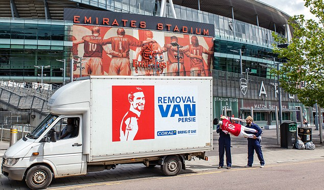 On the move: Bookmakers Coral were quick to set up this stunt outside the Emirates
