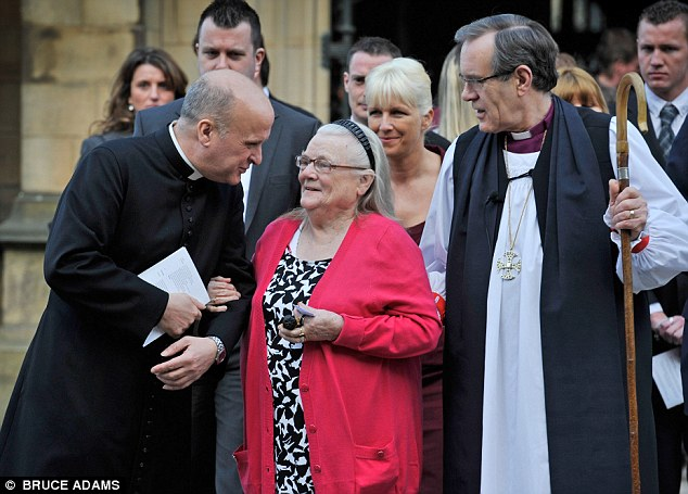 Heroic: Winnie Johnson, pictured at a memorial service for Keith, dreams of giving her son 'a proper Manchester funeral'
