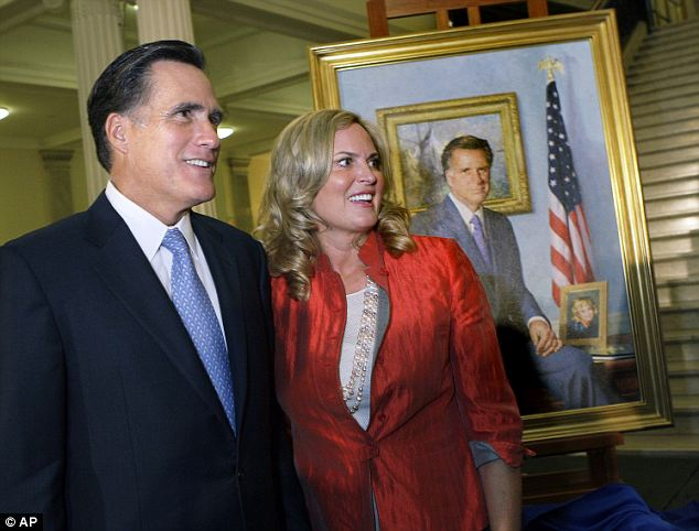 Controversial: Romney's official gubernatorial portrait includes a small photo of his wife, smiling from the desk