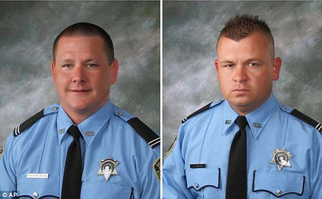 Wounded: Louisiana sheriff's deputies Michael Scott Boyington, left, and Jason Triche, right, are recovering after the shooting