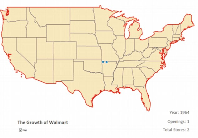 The first Walmart store opened in Roger's Arkansas in 1962 and within two years Sam Walton had doubled the number of businesses the family owned