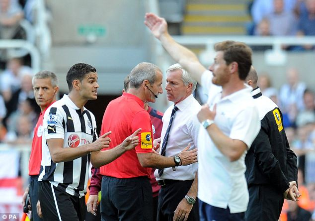 Flashpoint: Pardew (right) is ticked off by the ref