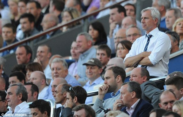 View point: Pardew looks on from the stands