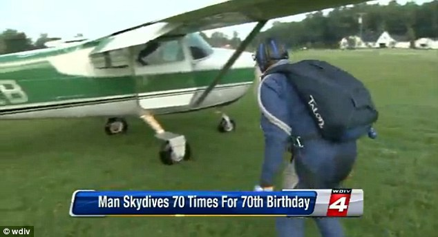 More to come? Mr Ekstrom said that he hopes to top his feat by completing 80 jumps on his 80th birthday
