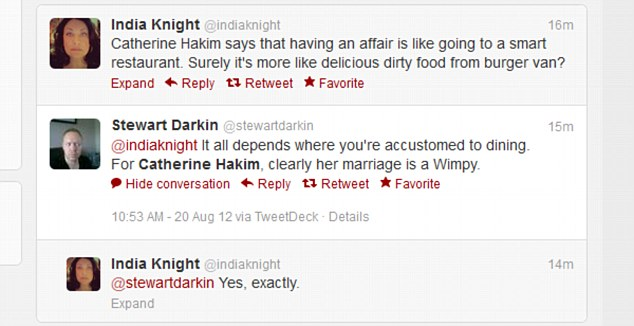Journalist India Knight questions Catherine Hakim's relationship analogies on Twitter