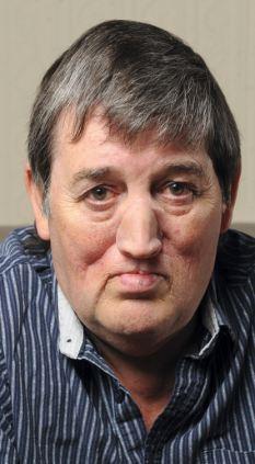 Keeping it safe: Bert wearing his prosthetic nose