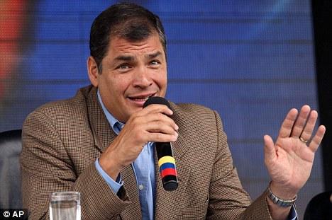 Ecuador's President Rafael Correa warned Britain off storming its embassy during his weekly broadcast  in Loja