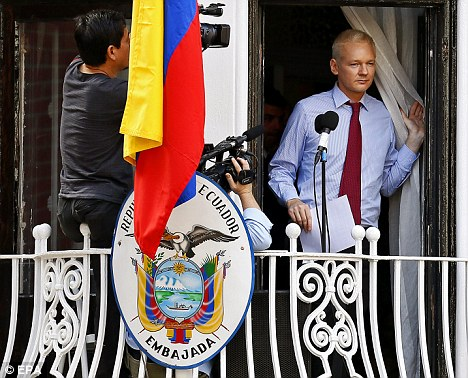 Controversial: Julian Assange demanded an end to the American government's 'war on whistleblowers'