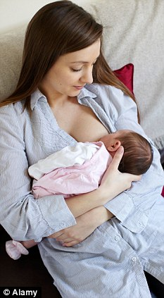 Needing advice: Many new mothers said they were left to find out about breastfeeding by themselves without help from health workers. (Posed by model)