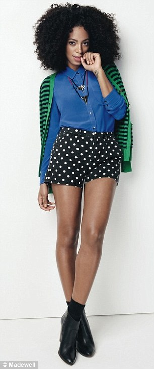 Sassy: She is also seen in high-waisted polka dot shorts (left) and boyfriend jeans and yellow pumps (right)