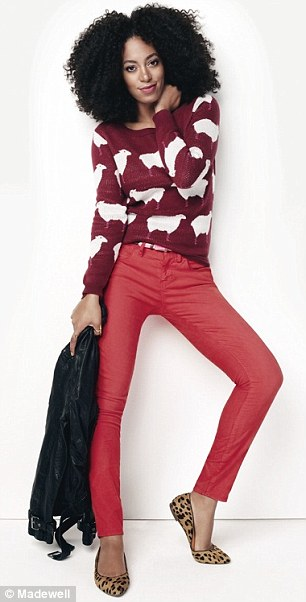 Pop color: The photogenic star is also seen in a monochromatic red ensemble (left) and floral print skirt (right)