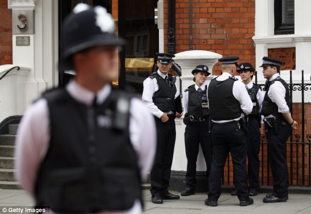 The daily cost for the round-the-clock police guard of the embassy is £50,000 charged to the UK taxpayer each day Mr Assange remains in the Ecuadorian Embassy