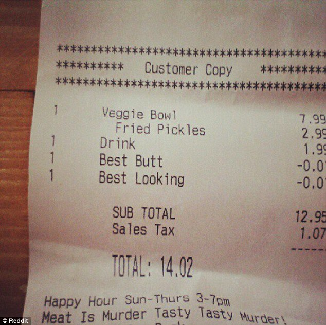 Discounted: A Reddit user posted a picture of his friend¿s receipt, which showed the bizarre mark-down below the unidentified woman¿s veggie bowl and fried pickles order