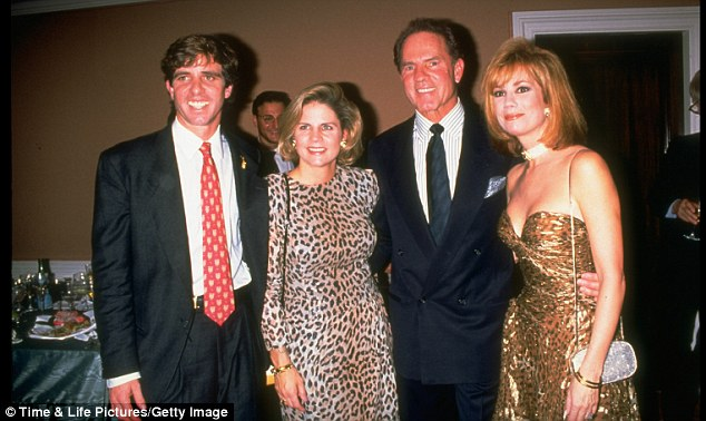 Family ties: Michael Kennedy, pictured in 1992 with his with wife Victoria, her father, former football pro Frank Gifford and his wife, Kathie Lee Gifford; Michael tragically died in 1997