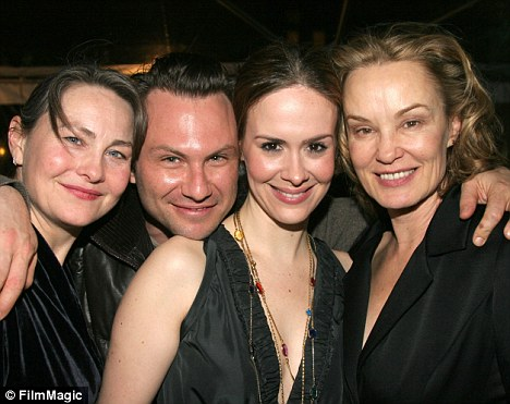 Friendly: Paulson formerly dated Tony winner Cherry Jones, left, seen here with Christian Slater and Lange in 2005