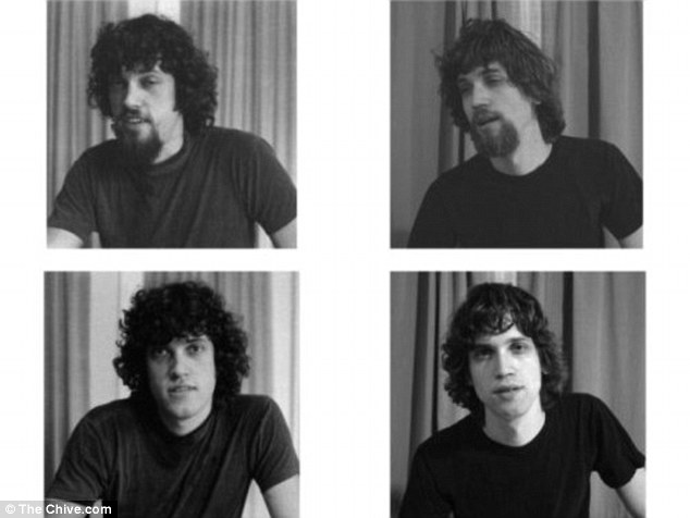 Mirror image: The man on the left is the father in 1976, while the the man on the right is the son in 2012
