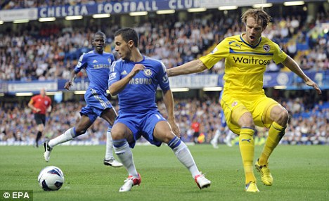 Beating his man: Eden Hazard gets past Kaspers Gorkss
