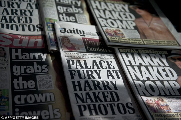 No coverage: The British Press were forced to refrain from publishing the pictures of a naked Harry