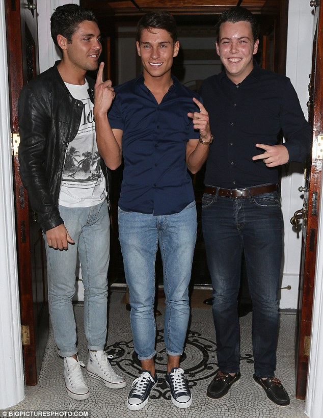 The boys are back in town: Tom Pearce (L), Joey Essex and James 'Diags' Bennewith all appeared to be in high spirits in their causal attire