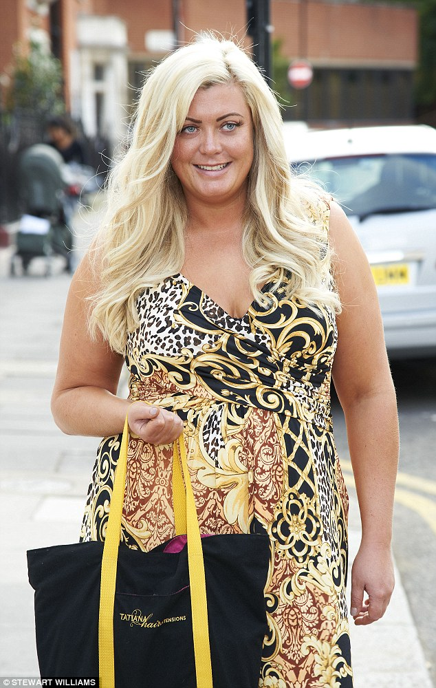 All glammed up: Gemma stepped out of the salon beaming at her new hair do and wearing a black, brown and yellow printed dress